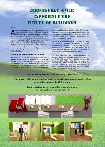 ZERO ENERGY SPACE Experience the Future of Buildings
