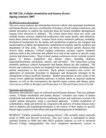 Narrative description of course: - Harvard Medical School - Harvard ...