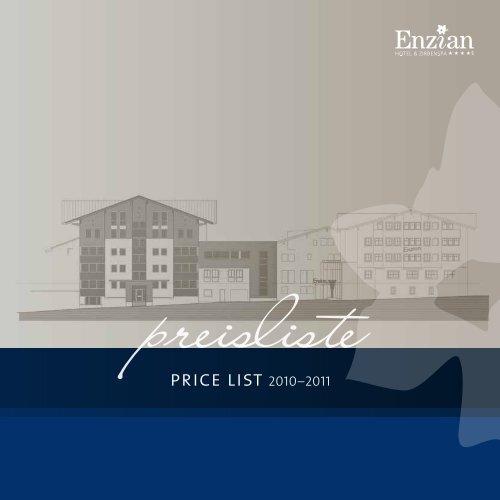 price list 2010–2011 - Hotel Enzian