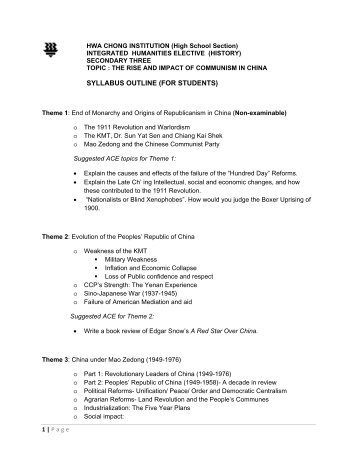 SYLLABUS OUTLINE (FOR STUDENTS) - Hwa Chong Institution