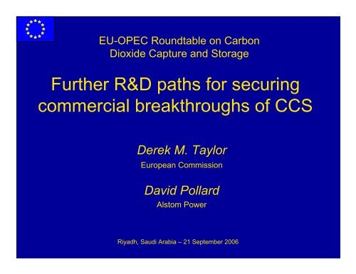 Further R&D paths for securing commercial breakthroughs of CCS