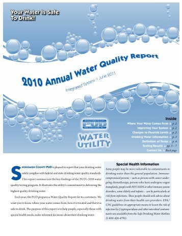 Your Water Is Safe To Drink! - Snohomish County PUD