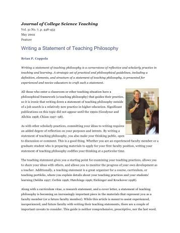 writing a teaching philosophy However, it is almost certain that you will be asked to write a teaching philosophy  statement as part of your application package if you have.