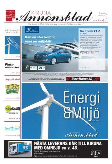 Kiruna Annonsblad vecka 42, torsdag 20 oktober 2011 sidan 1