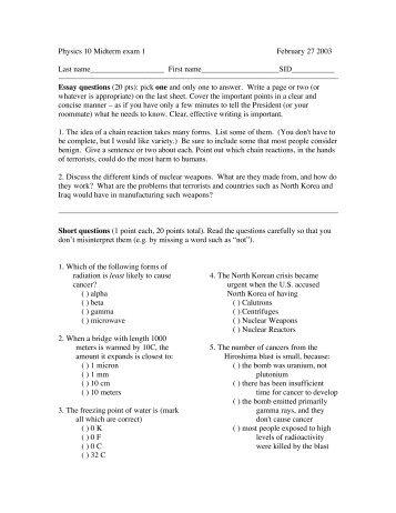 physics midterm exam part a atilde cent euro ldquo essay questions  physics 10 midterm exam 1 27 2003 last