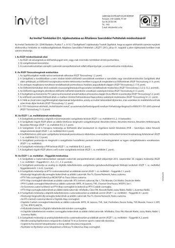 Az Invitel Távközlési Zrt. tájékoztatása az Általános Szerződési ...