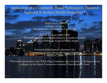 Application of a Community-Based Participatory Research Approach ...