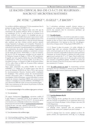 LE RACHIS CERVICAL BAS (de C3 à C7) DU RUGBYMAN ...