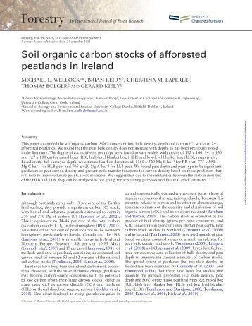 Soil organic carbon stocks of afforested peatlands in Ireland