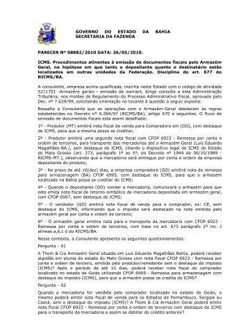 PARECER Nº 08882/2010 DATA: 26/05/2010. ICMS ... - Sefaz BA