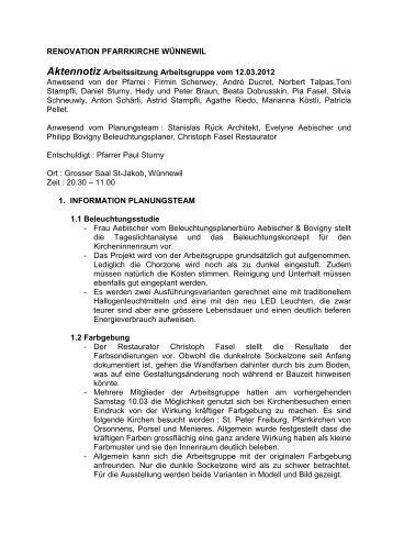 Aktennotiz Arbeitsgruppensitzung vom 12. März 2012 - Pfarrei ...