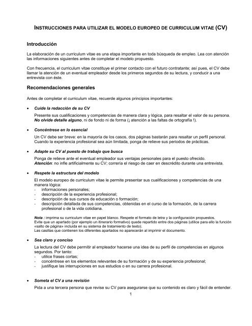 Instrucciones Cv Europeo