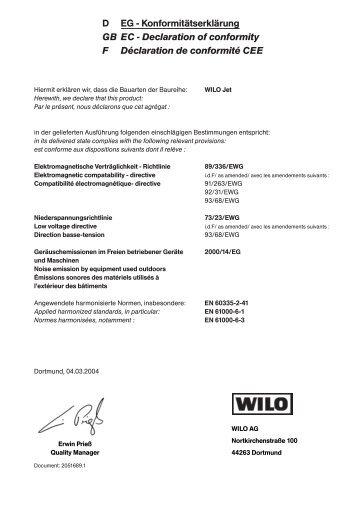 D EG - Konformitätserklärung GB EC - Declaration of ... - Wilo