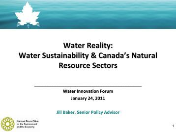 Water Sustainability & Canada's Natural Resource Sectors