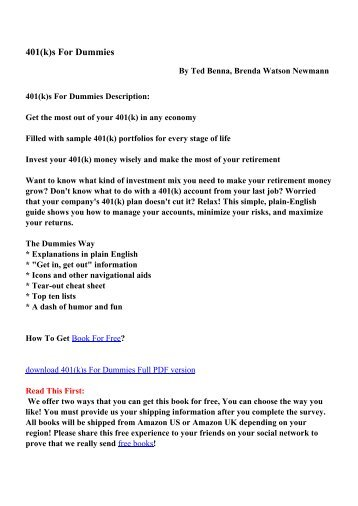 No bs time management for entrepreneurs pdf ebooks free 401ks for dummies pdf ebooks free download fandeluxe Image collections