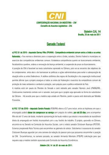 CNI Boletim nº 14 do Conselho de Assuntos Legislativos da ... - ABCE
