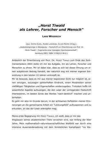 """""""Horst Tiwald als Lehrer, Forscher und Mensch"""" - Prof. Dr. phil Horst ..."""