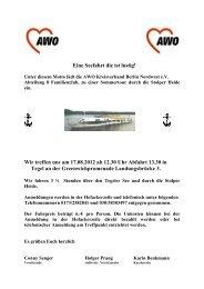 Eine Seefahrt die ist lustig Einladung Abt 8 zum 2012 - AWO Nordwest