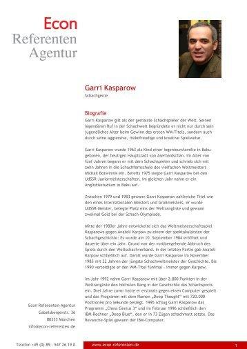 Garri Kasparow - Econ Referenten-Agentur