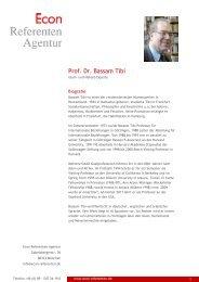 Prof. Dr. Bassam Tibi - Econ Referenten-Agentur