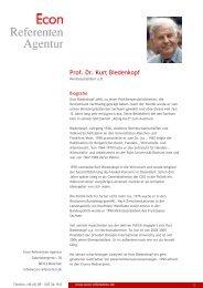 Prof. Dr. Kurt Biedenkopf - Econ Referenten-Agentur
