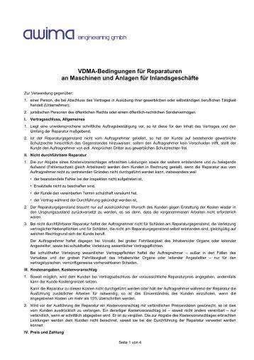 VDMA-Bedingungen für Reparaturen an Maschinen und ... - HZK