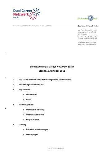 Bericht zum Dual Career Netzwerk Berlin. Oktober 2011 - Herzlich ...