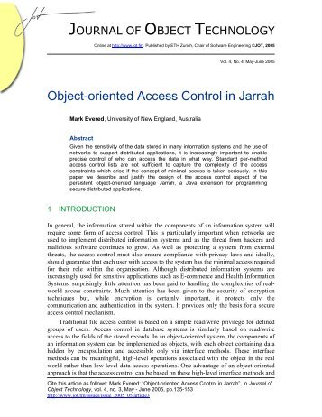 Object-oriented Access Control in Jarrah - The Journal of Object ...