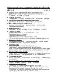 Otázky pro písemnou část přijímací zkoušky z biologie
