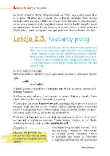 KsztaÃ…Â'ty poezji - WSiP