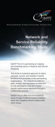 Network and Service Reliability Benchmarking Study - QuEST