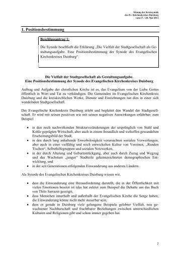 Positionspapier - Evangelischer Kirchenkreis Duisburg
