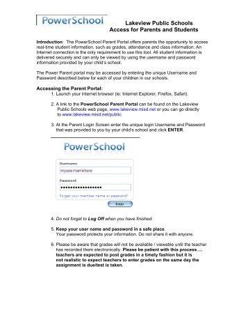 Parent Portal Tutorial - Lakeview Public Schools