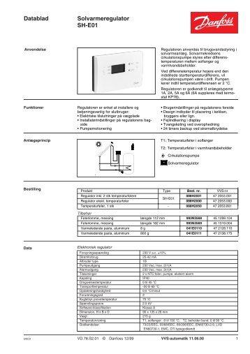 Datablad Solvarmeregulator SH-E01 - Danfoss Varme