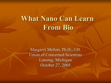 What Nano Can Learn From Bio