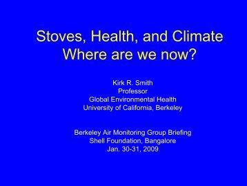 Stoves, Health, and Climate Where are we now? - Environmental ...