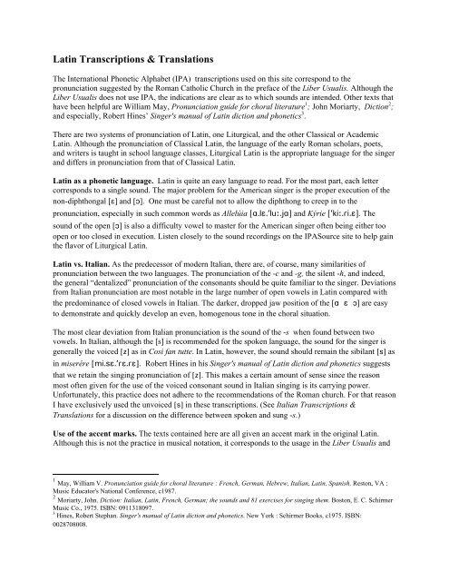 Latin Transcriptions Translations Ipa Source