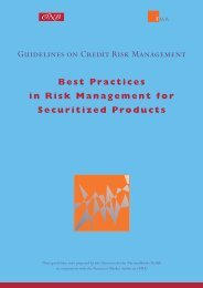 Best Practices in Risk Management for Securitized Products