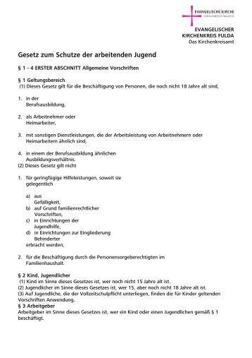 Gesetz zum Schutze der arbeitenden Jugend - Kirchenkreisamt Fulda