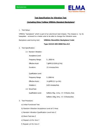 Test Specification for Vibration Test (including Elma Trenew ...