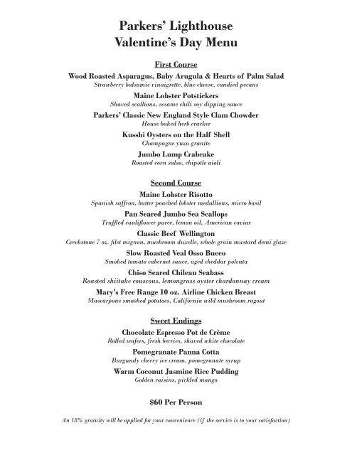 Parkers Lighthouse Valentine S Day Menu Select Restaurants Inc