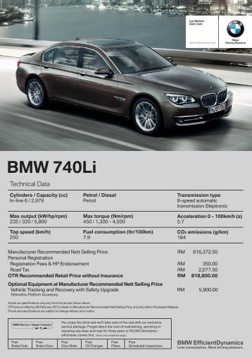 Download Specification Sheet - BMW - Lee Motors Auto Care