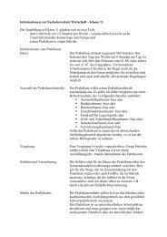 Informationen zur Fachoberschule Wirtschaft – Klasse 11 Die ...