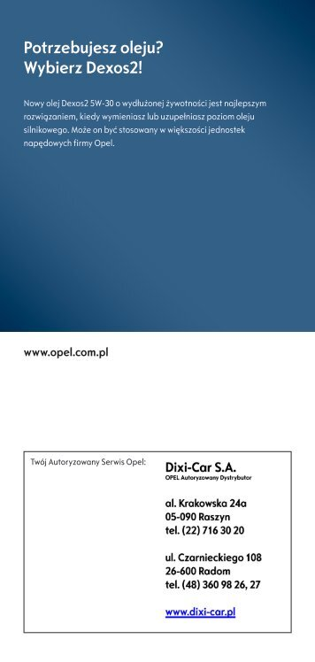 Ulotka oleju - Opel Dixi-Car