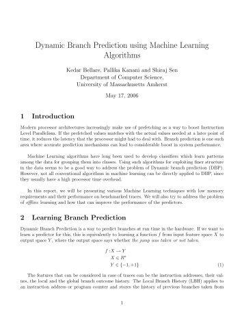 Dynamic Branch Prediction using Machine Learning Algorithms