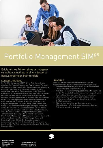 Portfolio Management SIM - game solution ag