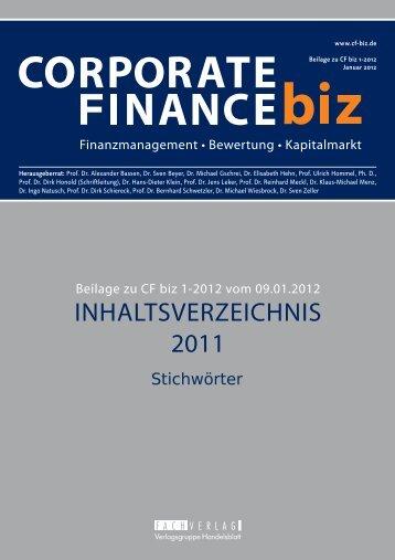 Stichwortregister 2011 - CORPORATE FINANCE fachportal