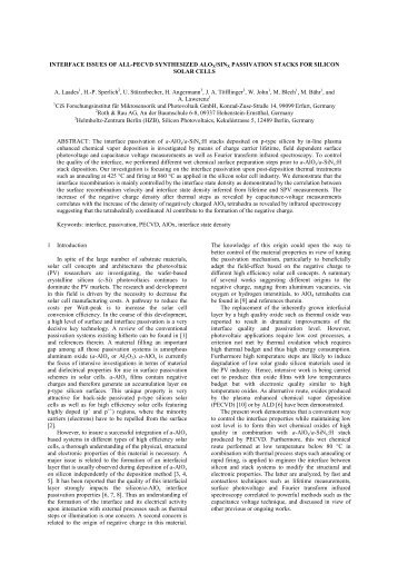 INTERFACE ISSUES OF ALL-PECVD SYNTHESIZED ALOX/SINX ...