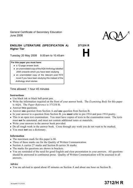 English literature paper