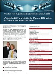 """""""Rückblick 2007 und wie Sie die Chancen 2008 nutzen. Im Fokus ..."""